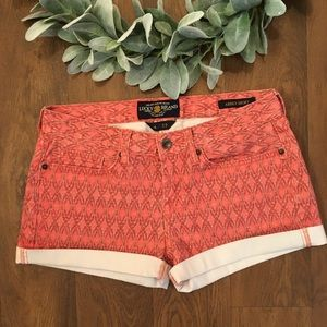 Lucky Brand Abbey Short Coral Denim with Pattern